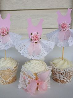 Paper Lace Party Dress Cupcake Toppers for  Princess Birthday Party Birthday Decoration