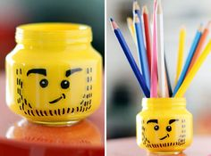 Lego head jars: Spray paint the inside of short a mason jar yellow, then use a sharpie to make faces.  Great for kids' room craft supplies. :)