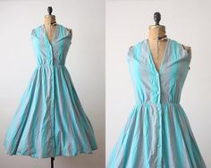 1950's dress  teal and grey striped halter dress by Thrush on Etsy, $130.00