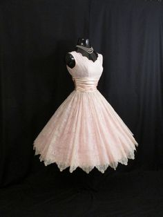 Vintage 1950's 50's Pink Ivory Flocked Floral Chiffon Organza Party Prom Wedding Bridal Dress Gown. $299.99, via Etsy.