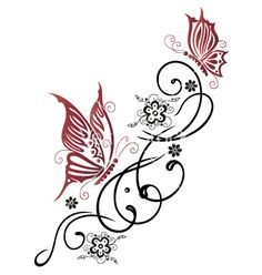 Illustration about Feminine, filigree tribal with flowers and butterfly. Illustration of decoration, flourishes, decorative - 33575685 Foot Tattoos, Flower Tattoos, Body Art Tattoos, Tribal Tattoos, Tatoos, Ribbon Tattoos, Key Tattoos, Skull Tattoos, Sleeve Tattoos