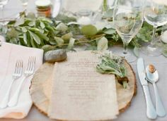 rustic wedding table setting // wood slice charger + eucalyptus table garland table setting Inspired By This Al Fresco Rehearsal Dinner Rustic Table, Rustic Chic, Wood Table, Rustic Wood, Rustic Decor, Wood Plate Chargers, Wooden Charger Plates, Wooden Plates, Rustic Rehearsal Dinners
