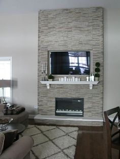 DIY Fireplace Stones over wood frame, electric inset fireplace - Fireplace Today Fireplace Remodel, House Design, Family Room, Home, Home Fireplace, Remodel, Inset Fireplace, New Homes, Diy Fireplace
