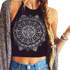 2016 NEW Womens Mandala Print Sleeveless Halterneck Tank Crop Tops Vest Blouse Shirt bustier crop top blusas cropped feminino Cute Crop Tops, Tank Tops, Cropped Tops, Summer Crop Tops, Summer Shirts, Crop Top Outfits, Cute Outfits, Fashionable Outfits, Dressy Outfits
