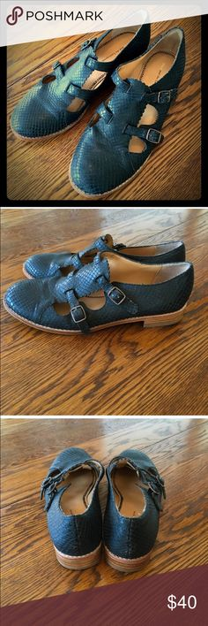Anthropologie Monkstrap Flats By Pilcro and the Letterpress for Anthropologie. Black snakeskin embossed leather monkstrap flat. Vintage gold colored buckles. Worn twice and are still in excellent condition. Other than minimal scuffing on soles, they appear brand new. Anthropologie Shoes Flats & Loafers