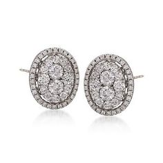 T W Oval Diamond Stud Earrings In 18kt White Gold Pump Up The
