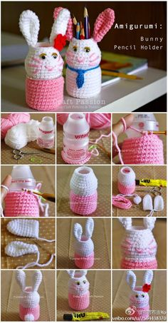 Amigurumi bunny pencil holder - good for Easter Crochet Diy, Crochet Amigurumi, Crochet Bunny, Crochet Gifts, Crochet Dolls, Yarn Crafts, Diy And Crafts, Easter Crafts, Crochet Projects