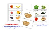 Free printable on fruits and vegetables! These are great for beginning language learners for basic vocabulary building and conversation practice.
