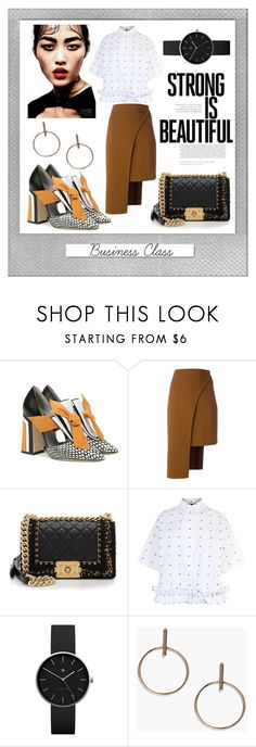 """Business Class: Strong Is Beautiful"" by ispdesign ❤ liked on Polyvore featuring Polaroid, Pollini, Cushnie Et Ochs, Chanel, McQ by Alexander McQueen, Newgate and White Label"