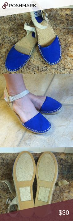 Dolce Vita espadrilles Brand NWOT espadrilles closed toe sandals by Dolce Vita! Make sure to check out my other listing of these in chocolate! Bundle both to save! Toe is blue suede. Woven footbed. Rubber and woven outsole. Adjustable straps with elastic on clasp. Super cute for summer! Dolce Vita Shoes Espadrilles
