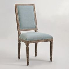 One of my favorite discoveries at WorldMarket.com: Blue Linen Square-Back Paige Dining Chairs, Set of 2