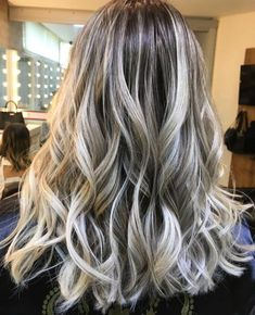 Creamy Blonde Balayage with Silver Highlights