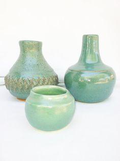 Ceramic Trio Handmade Pottery Teal Green by fluffstuffandpuff