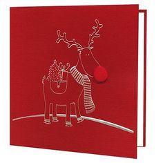 Kartka świąteczna Renifer czerwona srebrna folia
