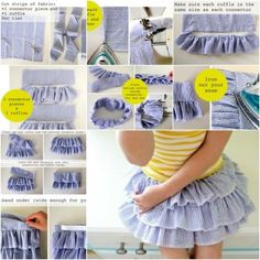 Realizza la gonnellina a balze: #comefarea #howtomake #sewing #tutorial | DIY ruffled skirt for girls
