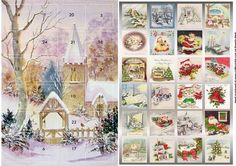 Church in the snow advent calendar on Craftsuprint designed by Angela Wake - Church in the snow advent calendar, a lovely card leading up to the festive season - Now available for download!