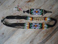 Guatemalan Hand Beaded Necklace set - Raven