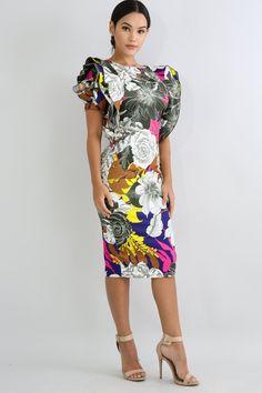 942d5d9be5b FASHION WEEK FLORAL ROSE PRINT MIDI DRESS. Fashion XOXO