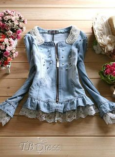 Boutique New Arrival Pearl Denim Jeans Jacket