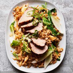 Char siu pork with pak choi fried rice