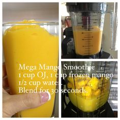 Mega Mango Smoothie 1 cup OJ, 1 cup frozen mango, 1/2 cup water. Blend for 30 seconds. http://www.youtube.com/user/AmyiReport http://amyireport.blogspot.com/