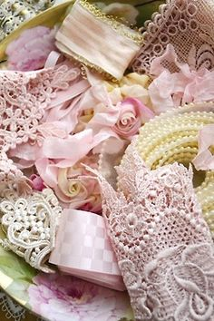 pink lace, ribbon and pearls Inspiration