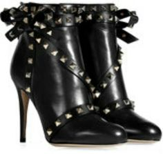 STYLEBOP.com | BlackLeatherRockstudAnkleBootsbyVALENTINO | the latest trends from the capitals of the world