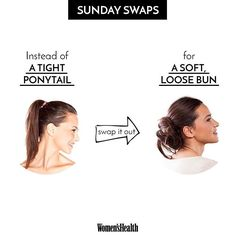 No more broken strands! Give your hair a break from the tight pony and try a loose bun instead for a look that's just as chic but a little kinder to your locks  #SundaySwaps  via WOMEN'S HEALTH MAGAZINE OFFICIAL INSTAGRAM - Celebrity  Fashion  Health  Advertising  Culture  Beauty  Editorial Photography  Magazine Covers  Supermodels  Runway Models