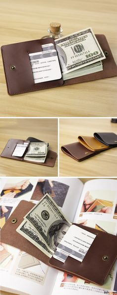 Vintage Leather Wallet. Simple is the New Trend. 3 Colors Optional.