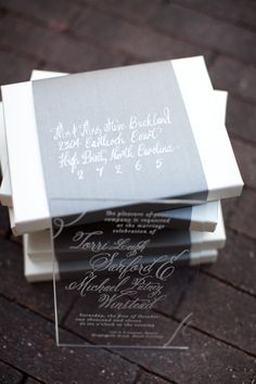 acrylic invitation, Salt Harbor Designs