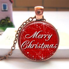Glass Dome Charm Pendant Necklace Merry Christmas Jewelry EXPIRING SOON