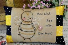 Enjoy these 10 bee, honey and hexagon hand embroidery patterns to sweetly stitch!: Bee Kind Embroidery and Pillow Pattern
