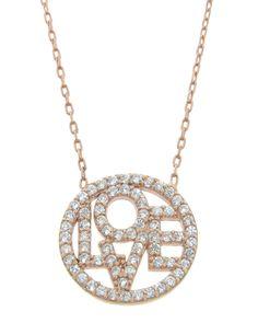 Rose Gold Pave Love Necklace - JewelMint