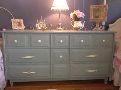 Simply Chic at Home: Girls dresser makeover painted with Annie Sloan chalk paint in Duck Egg Blue with clear wax