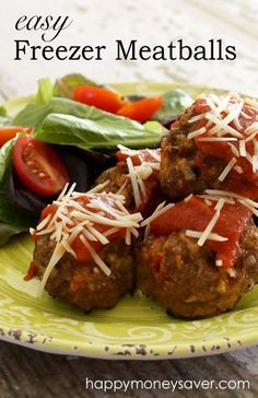 This Easy Freezer Meatballs Recipe is delicious, you'll definitely want to stock up on these...they are so easy to make and a family favorite dinner idea! They're a win-win!  happymoneysaver.com