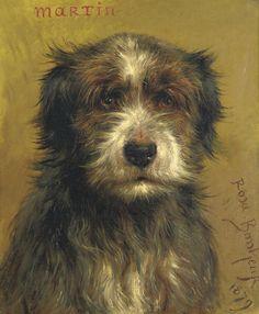 Rosa Bonheur (French, 1822-1899). 'Martin', a Dog portrait, oil on canvas, 47 x 37,2 cm. 1879.