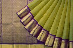 Handwoven Kanjivaram Silk Sari with Arasa Ilai & Mayil Korvai Border 1028410 - Saris / All Saris - Parisera