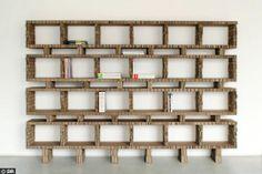 Bibliothèque design en carton recyclé