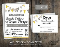 Spring Outdoor Barn Wedding Invitation Suite. Printable DIY Rustic Chic Wedding Invite | Grey, Yellow and White Bunting Flags with Banner for Country Wedding by X3designs on Etsy
