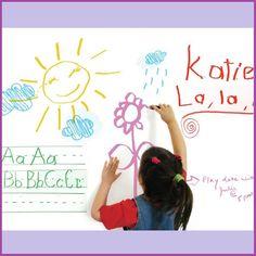 Chalkboard or Whiteboard Wall Decal - Tanga Stick On Whiteboard, Whiteboard Sticker, Dry Erase Wall, Dry Erase Board, Wall Candy, Removable Wall Decals, Cool Writing, Kids Decor, Sharpies