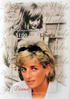 "Princess Diana ""Young and Old"" Commemorative Stamp Sheet Issued by Liberia, Diana - Princess of Wales 1961 - 1997."