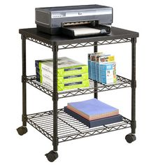 Low Profile Printer Stand With Bottom Paper Shelf And Locking Casters | Printer  Stand And Products