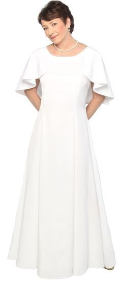 White Installation dresses for the Order of the Eastern Star with a caplet collar and a trumpet skirt.