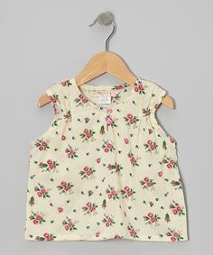 Cream & Pink Floral Pin Tuck Top