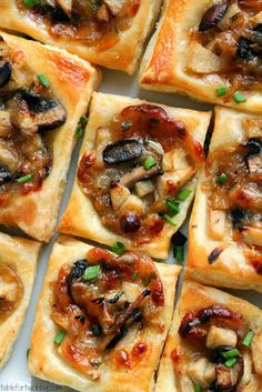 Caramelized onion, mushroom, apple and gruyere bites | Just a good recipe