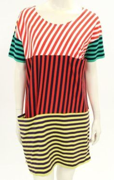 Marimekko-Multicolor-Striped-Cotton-Short-Sleeve-Pocket-Shift-Dress-Size-Medium