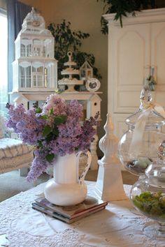 Cut flowers in white vase