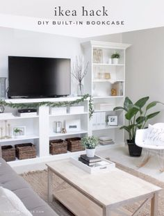 Best IKEA Hacks and DIY Hack Ideas for Furniture Projects and Home Decor from IKEA - IKEA Hack DIY Built In Bookcase - Creative IKEA Hack Tutorials for DIY Platform Bed, Desk, Vanity, Dresser, Coffee Table, Storage and Kitchen, Bedroom and Bathroom Decor http://diyjoy.com/best-ikea-hacks