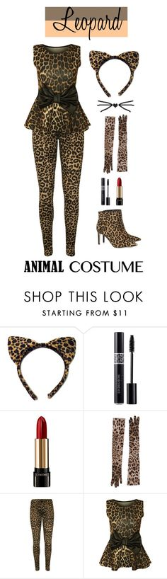 """""""60-Second Style: Animal Costume"""" by nerdtastic81 ❤ liked on Polyvore featuring Christian Dior, Lancôme, Dolce&Gabbana, WearAll, Sam Edelman, Halloween, 60secondstyle and animalcostume"""