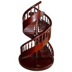 French Mahogany Miniature Double Spiral Staircase, Model by a Craftsman, 1876